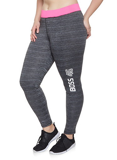 Plus Size Boss Graphic Activewear Leggings,CHARCOAL,large