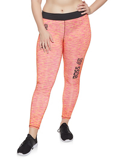 Plus Size Boss Graphic Activewear Leggings,PINK,large