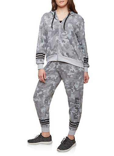 Plus Size Camo Print Zip Sweatshirt,GRAY,large
