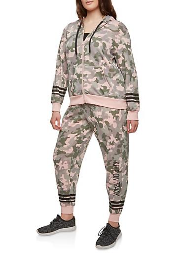Plus Size Camo Print Zip Sweatshirt,MAUVE,large