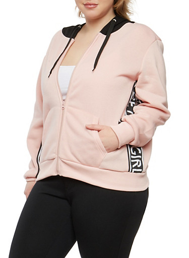 Plus Size Graphic Side Hooded Zip Up Sweatshirt,PINK,large