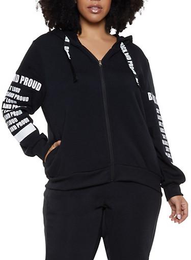 Plus Size Black and Proud Graphic Sweatshirt,BLACK,large
