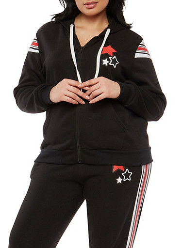 Plus Size Star Graphic Zip Up Sweatshirt,BLACK,large