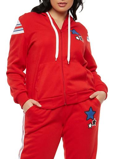 Plus Size Star Graphic Zip Up Sweatshirt,RED,large