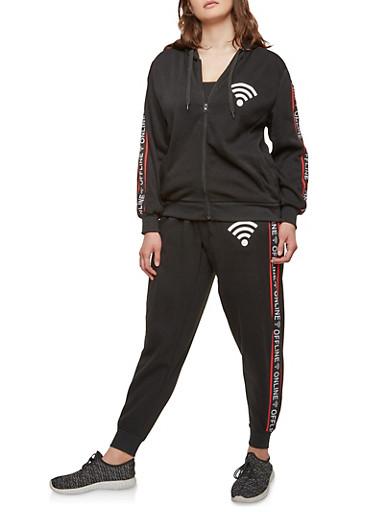 Plus Size Online Offline Graphic Sweatshirt,BLACK,large