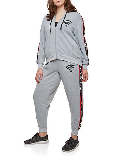 Plus Size Online Offline Graphic Sweatshirt,GRAY,large