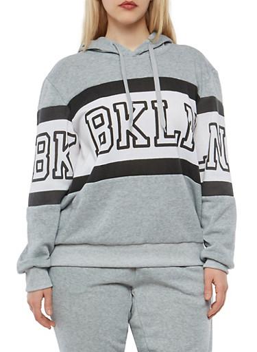 Plus Size BKLN Graphic Sweatshirt,GRAY,large