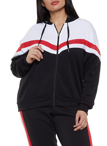 Plus Size Stripe Detail Color Block Sweatshirt,BLACK,large