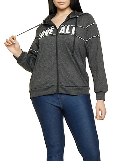 Plus Size Love All Zip Up Sweatshirt,CHARCOAL,large