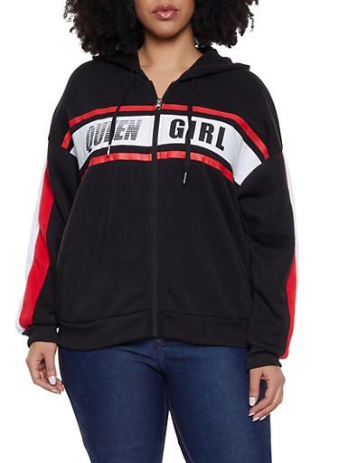 Plus Size Queen Girl Zip Up Sweatshirt,BLACK,large