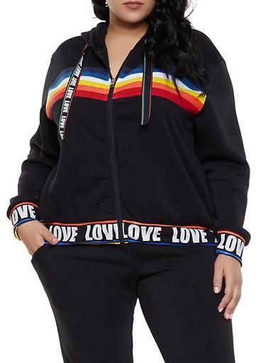 Plus Size Rainbow Detail Zip Front Sweatshirt,BLACK,large