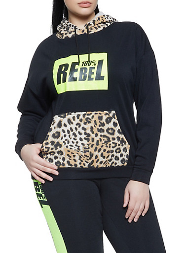 Plus Size 100 Percent Rebel Fleece Sweatshirt,BLK PTN,large