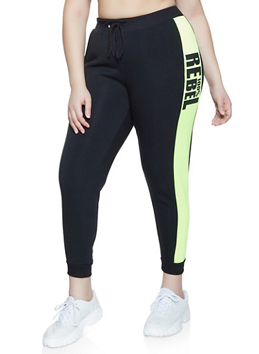Plus Size 100 Percent Rebel Joggers,BLK PTN,large
