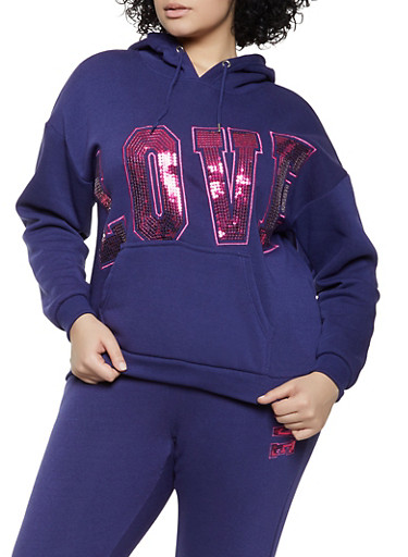 Plus Size Sequin Love Sweatshirt,RYL BLUE,large