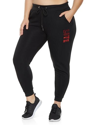 Plus Size Sequin Love Joggers,BLACK,large
