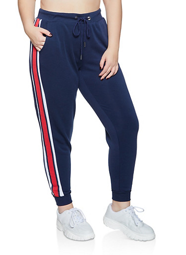 Plus Size Fleece Lined Striped Side Joggers,NAVY,large