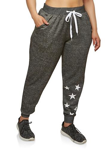 Plus Size Star Graphic Sweatpants,BLACK,large