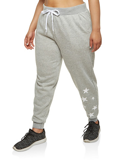 Plus Size Star Graphic Sweatpants,HEATHER,large