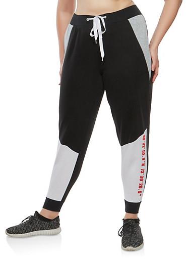 Plus Size Color Block Sweatpants,BLACK,large