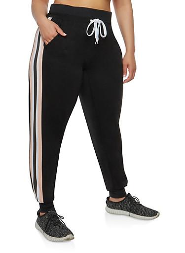 Plus Size Side Stripe Sweatpants,BLACK,large