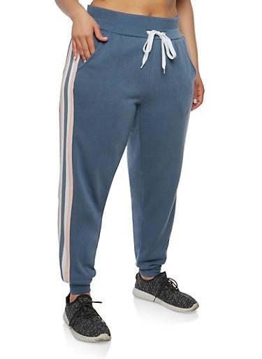 Plus Size Side Stripe Sweatpants,SLATE,large