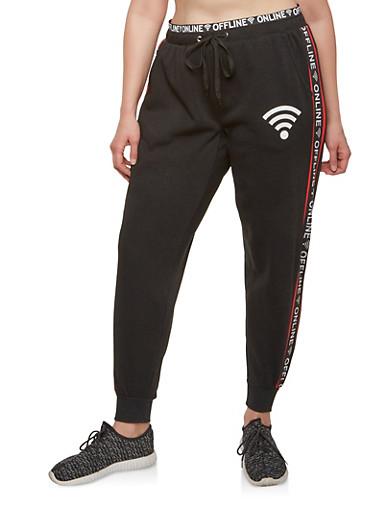 Plus Size Online Offline Graphic Sweatpants,BLACK,large