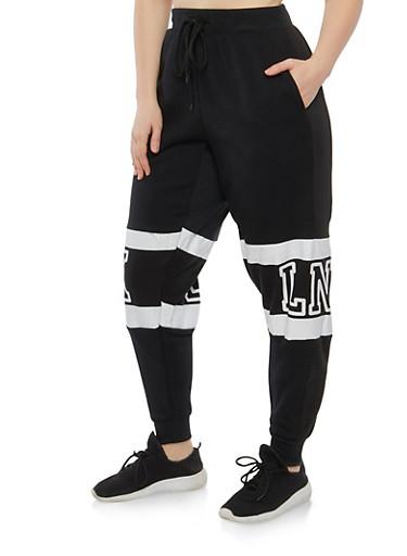 Plus Size Brooklyn Graphic Sweatpants,BLACK,large