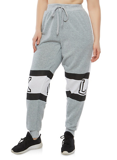 Plus Size Brooklyn Graphic Sweatpants,GRAY,large