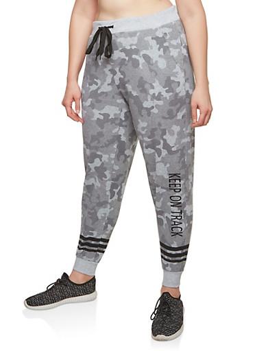 Plus Size Fleece Camouflage Sweatpants,GRAY,large