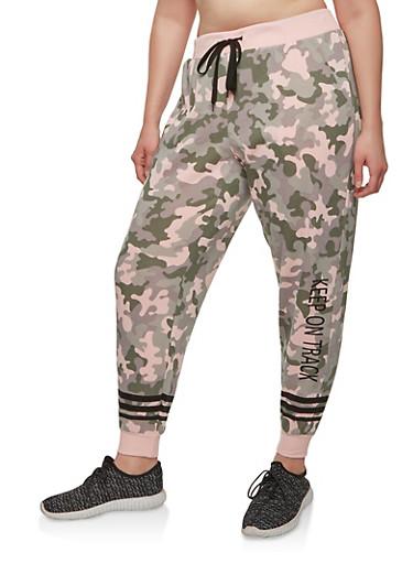 Plus Size Fleece Camouflage Sweatpants,MAUVE,large