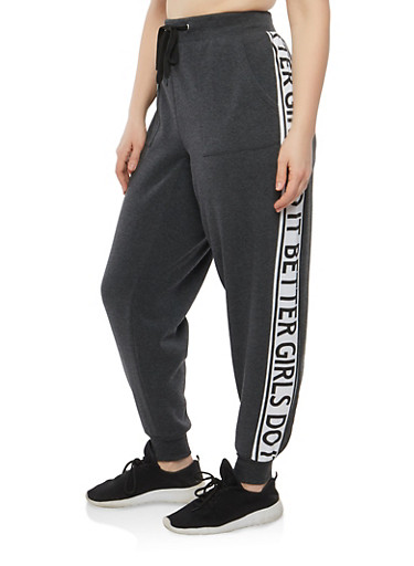 Plus Size Girls Do It Better Graphic Sweatpants,CHARCOAL,large