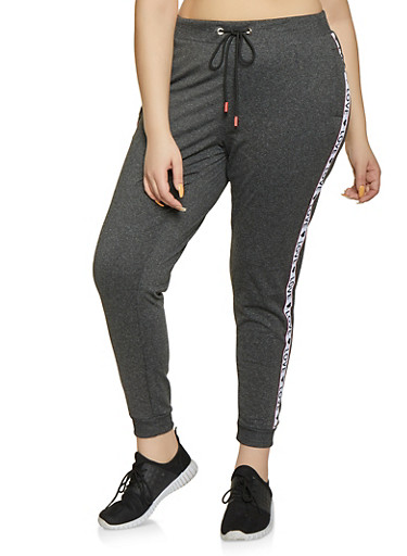 Plus Size Marled Graphic Love Tape Sweatpants,CHARCOAL,large