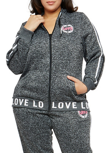Plus Size Marled Love Graphic Hooded Sweatshirt,CHARCOAL,large