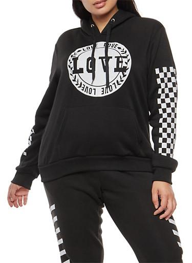 Plus Size Love Checkered Graphic Sweatshirt,BLACK,large