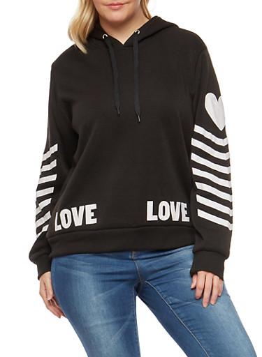 Plus Size Love Graphic Pullover Sweatshirt,BLACK,large