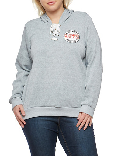 Plus Size Lace Up Hooded Sweatshirt,GRAY,large
