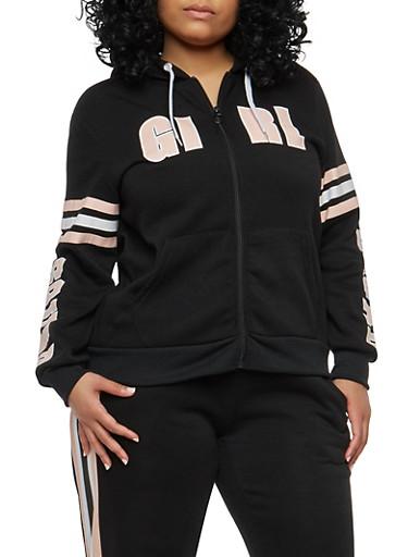 Plus Size Girl Squad Graphic Sweatshirt,BLACK,large