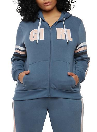 Plus Size Girl Squad Graphic Sweatshirt,SLATE,large