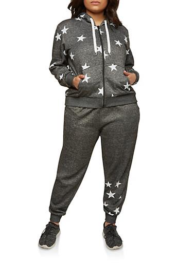 Plus Size Star Graphic Hooded Sweatshirt,BLACK,large