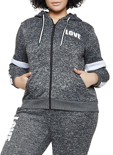 Plus Size Love Knit Zip Sweatshirt,CHARCOAL,large