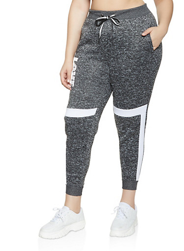 Plus Size Love Knit Joggers,CHARCOAL,large