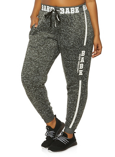 Plus Size Babe Joggers,CHARCOAL,large