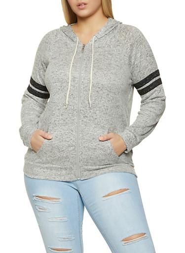 Plus Size Varsity Stripe Detail Zip Sweatshirt,GRAY,large