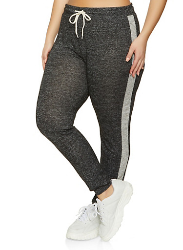 Plus Size Side Stripe Brushed Knit Joggers,BLACK,large