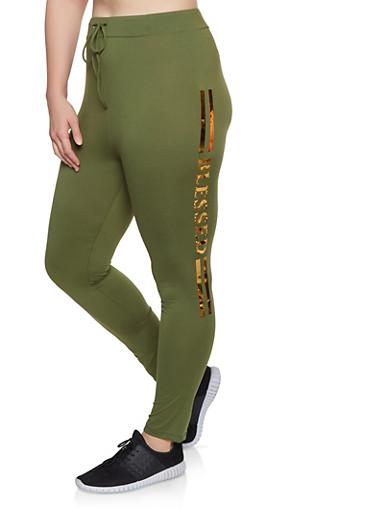 Plus Size Foil Varsity Stripe Leggings,OLIVE,large