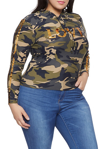 Plus Size Love Foil Camo Hooded Top,OLIVE,large