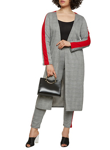 Plus Size Plaid Contrast Trim Duster,BLACK/WHITE,large