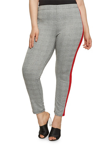 Plus Size Plaid Contrast Trim Pants | Tuggl