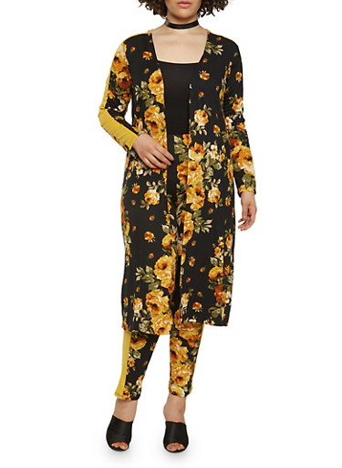 Plus Size Soft Knit Floral Duster,BLACK,large