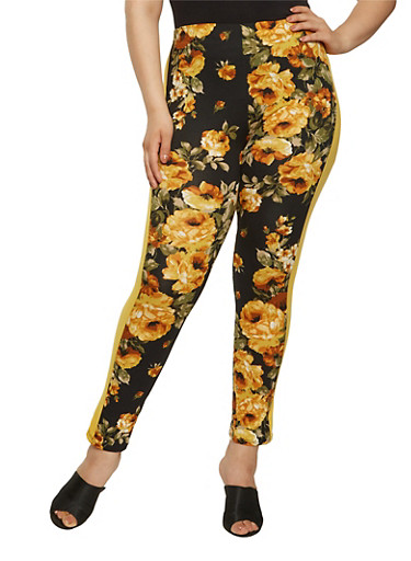 Plus Size Floral Soft Knit Leggings,BLACK,large